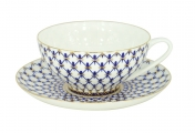 Lomonosov Imperial Bone China Tea Set Dome Cobalt Net 10 oz/300 ml