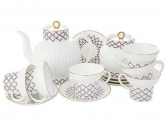 Lomonosov Porcelain Pink Net Wave Bone China Tea Set 20pc