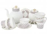 Lomonosov Porcelain Pink Net Wave Bone China Tea Set 20pc