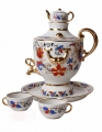 Porcelain Wine Set Samovar Decanter Souvenir 30.4 oz/900 ml with 2 Shots/Cups and Tray
