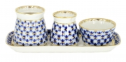 Lomonosov Porcelain Spice set Cobalt Net:Tray, Salt Cellar,Pepper box, Sauceboat