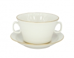 Lomonosov Imperial Porcelain Soup Bowl and Saucer Golden Ribbon 12.7 oz/360 ml