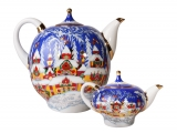 Lomonosov Imperial Porcelain Teapot Set Winter Fairy Tale Big 82.8 oz and Small 8.5 oz