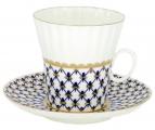 Lomonosov Lomonosov Porcelain Cobalt Net Dandelion Tea cup and saucer Bone China