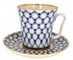Lomonosov Porcelain Mug and Saucer Leningradskii Cobalt Net 12.2 fl.oz/360 ml