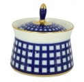 Lomonosov Porcelain Porcelain Dressing Bowl with Lid Cobalt Cell 6.8 fl.oz/200 ml