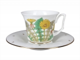 Russian Porcelain Bone China Porcelain Tea Cup and Saucer Yulia Sunny Bouquet 7 fl.oz/210 ml