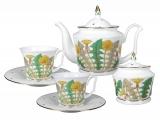 Lomonosov Porcelain Bone China Porcelain Tea Set Service 6/14 Yulia Sunny Bouquet