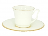 Imperial Porcelain Bone China Porcelain Tea Cup and Saucer Yulia Golden Ribbon 7 fl.oz/210 ml