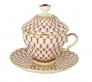 Lomonosov Porcelain Covered Cup Set Gift-2 Red Net 8.45 oz/250 ml
