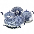 Russian Porcelain Porcelain Tulip Frenchman Tea Set 6/14: Tea Pot, Sugar Bowl, 6 Cups with Saucers