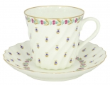 Lomonosov Porcelain Bone China Twist Tea Cup and Saucer Tiny Blue Berries 5.24 fl.oz/155ml