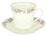 Lomonosov  Bone China Twist Tea Cup and Saucer Little Garden 5.24 fl.oz/155ml