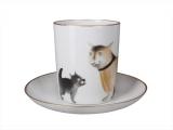 Lomonosov Porcelain Mug and Saucer Snowy Morning Friends 12.8 fl.oz/380 ml