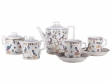 Lomonosov Porcelain Tea Set 6/14 Exotic Birds