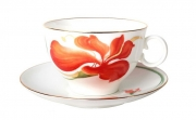 Russian Porcelain Bone China Porcelain Tea Set Apple Tea Cup and Saucer Anita 2pc 5.4 fl. oz/160 ml