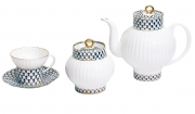 Lomonosov Imperial Porcelain Cobalt Net Wave Bone China Tea Set 15pc