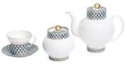 Lomonosov Porcelain Cobalt Net Wave Bone China Tea Set 14pc