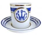 Lomonosov Porcelain Porcelain Tea Cup with Saucer Navy Style #1 7.4 oz/220 ml
