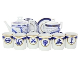 Lomonosov Porcelain Tea Set 6/14 Navy Style