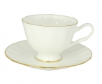 Russian Porcelain Bone China Porcelain Tea Cup and Saucer Nega Golden Ribbon 7.4 fl.oz/220 ml