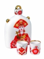 Porcelain Decanter Slavic Beauty Girl 22 oz/650 ml with 2 shots