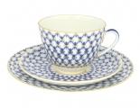 Imperial Lomonosov Porcelain Tea Set Cup, Saucer and Cake Plate Spring Cobalt Net 7.8 oz/230 ml