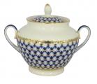 Lomonosov Imperial Porcelaine Sugar Bowl Spring Cobalt Net 13.5 oz/400 ml