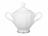Lomonosov Imperial Porcelaine Bone China Porcelain Sugar Bowl Nega Golden Ribbon 11.8 oz/350 ml