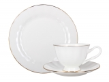 Russian Porcelain Bone China Porcelain Tea Cup, Saucer and Plate Nega Golden Ribbon 7.4 fl.oz/220 ml