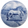 "Decorative Wall Plate Pasturing Horse 7.7""/195 mm Lomonosov Imperial Porcelain"