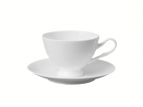 Lomonosov Porcelain Tea Cup on Stand and Saucer Premium White 6.8 fl.oz/200 ml
