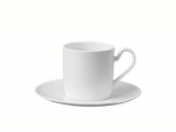 Lomonosov Porcelain Porcelain Tea Cup and Saucer Premium White 3.4 fl.oz/100 ml