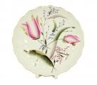 "Lomonosov Porcelain Cake Сookie Biscuit Pastry Dish Pink Tulips 8.5"""