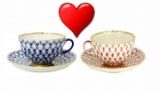 Valentine's Day Special: Lomonosov Couple Cups set Tulip Cobalt and Red Net 8.45 oz/250 ml