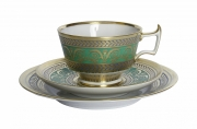 Imperial Lomonosov Porcelain  Espresso Coffee Set Cup, Saucer and Dessert Plate Alexandria Golden 52 6.8 oz/200 ml
