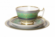 Imperial Lomonosov Porcelain Tea Set Cup, Saucer and Dessert Plate Alexandria Golden 52 8.4 oz/250 ml