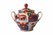 Lomonosov Imperial Porcelaine Sugar Bowl Spring Folk Patterns 13.5 oz/400 ml