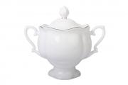 Lomonosov Imperial Porcelaine Sugar Bowl Natasha Golden Ribbon 10.4 oz/300 ml