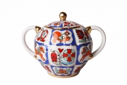 Lomonosov Imperial PorcelaineTulip Sugar Bowl Russian Lubok 15 oz/450 ml