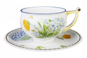 Imperial Lomonosov Porcelain Tea Set Cup and Saucer Kostroma Calendula 10 oz/300 ml