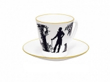 Lomonosov Porcelain Bone China Cup and Saucer Meeting 2.71 fl.oz/80 ml