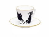 Lomonosov Imperial Porcelain Bone China Cup and Saucer Rider 2.71 fl.oz/80 ml
