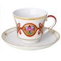 Lomonosov Porcelain Tea Cup Set 2pc Banquet Byzantium 7.4 oz/220 ml