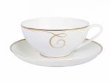 Lomonosov Porcelain Tea Set Cup and Saucer Dome Golden Curls 10 oz/300 ml