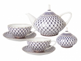 Lomonosov Porcelain Bone China Dome Cobalt Net Tea Set Service 14 items