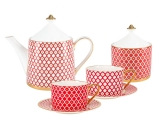 Bone China Porcelain Tea Set Service Scarlet