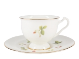 Lomonosov Bone China Tea Set Cup and Saucer Aisedora Wild Strawberry