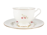 Lomonosov Bone China Tea Set Cup and Saucer Aisedora Cranberry