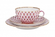 Lomonosov Porcelain Teacup and Saucer and Plate Red Net Tulip 8.45 oz/250 ml